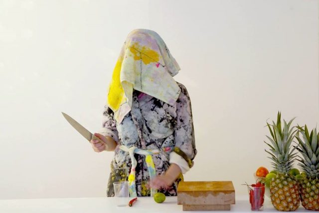 Merike Estna, So Soft/+ Pure, 2014, performance event, sauna sessions with paintings as towels and robes.