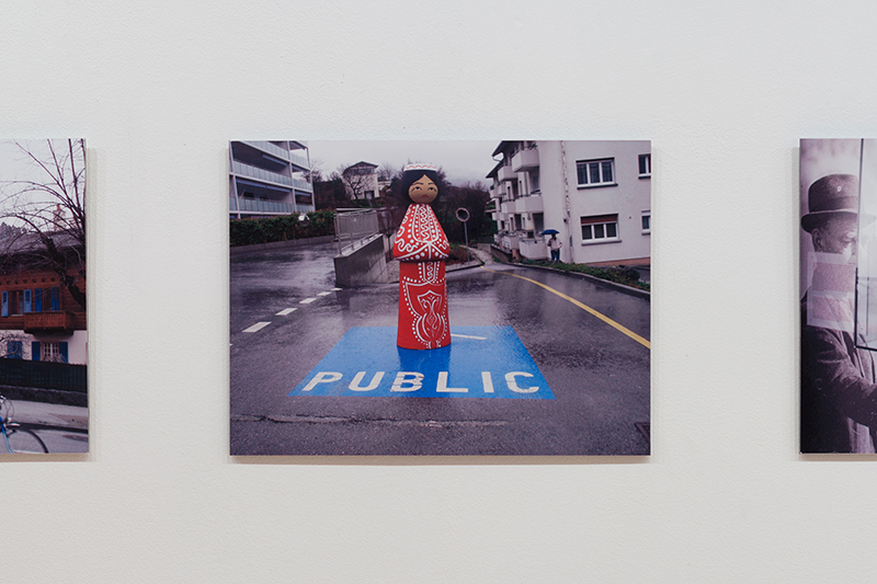 Juozas Laivys - Documentation of the Appearances of the Sculpture in Public Spaces, 2013.                                                                                            8 colour photographs mounted on Dibond, 30 x 42 cm