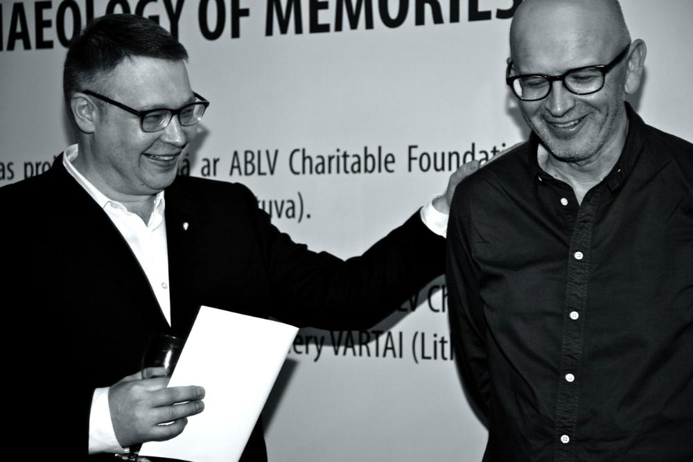Curator Maris Vitols and artist Deimantas Narkevičius