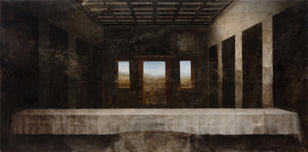 Patricija Jurkšaitytė. 'Leonardo da Vinci. Last Supper'. 2014. Oil on canvas. 88 x 178 cm. Courtesy of Lewben Art Foundation.