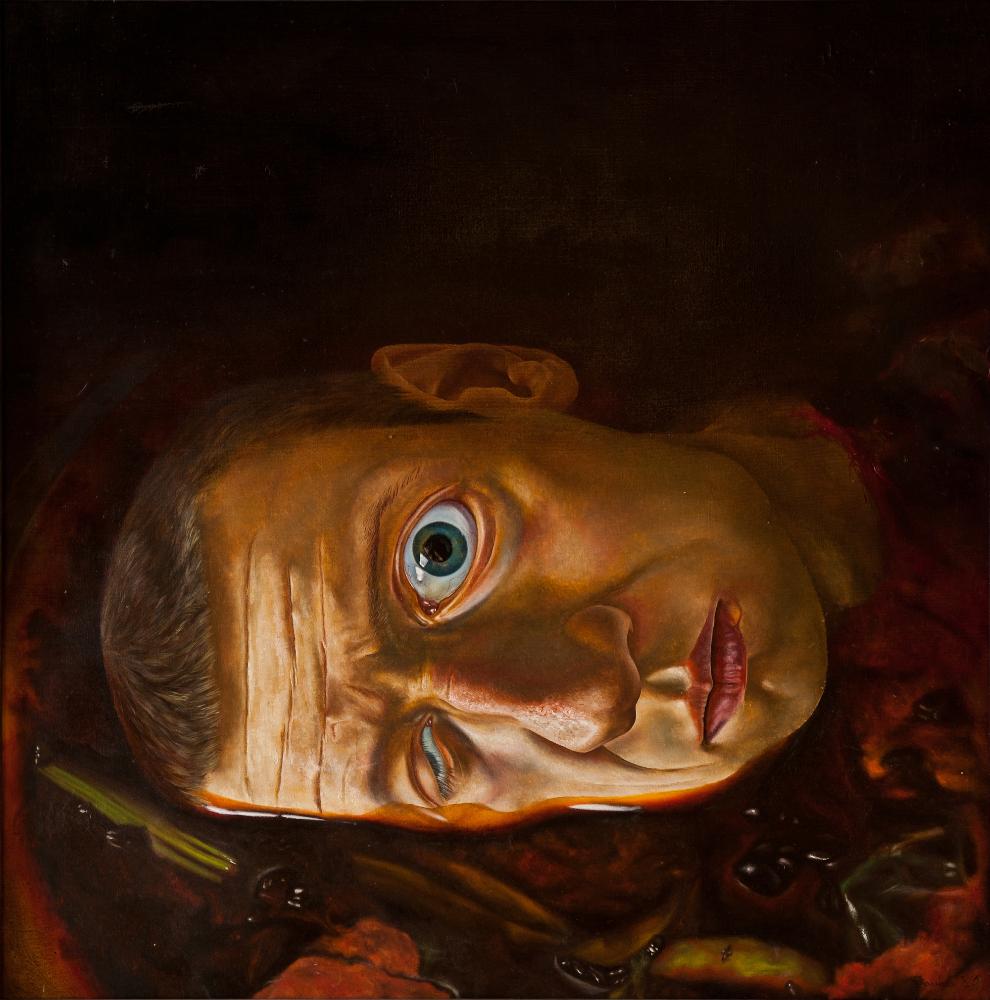 S. Sauka. Self-Portrait No 4. 1985. Oil on canvas.  110x110