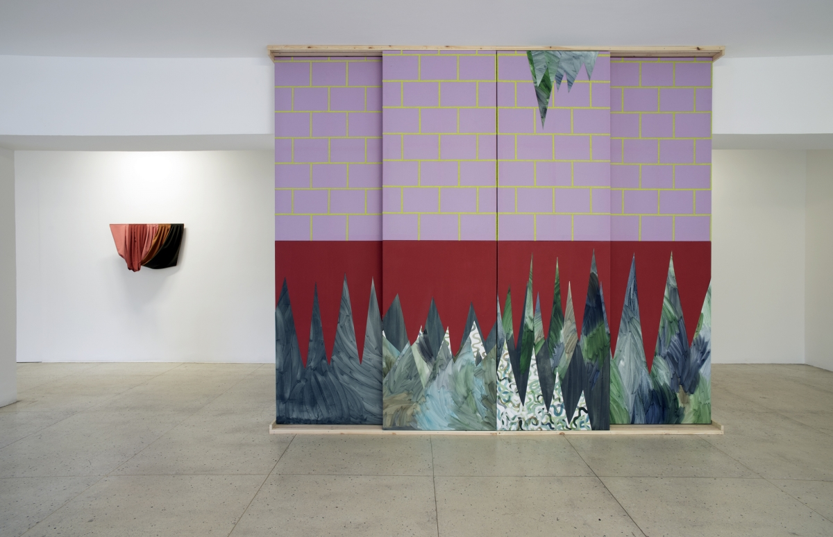 Laura Põld. Red sliding door with plants, 2016.  Acrylic, canvas, textile, emboidery, wood; on the wall -  Skin, 2016. Textile, wood(1)