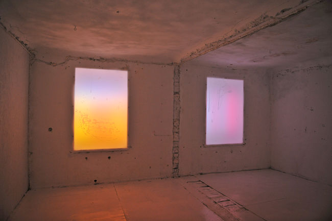 "Inga Meldere ""References to Namesake Paintings by the Italian Renaissance Artist Piero Della Francesca"". Plexiglas, fluorescent, lamps, acrylic paintings. 2016"