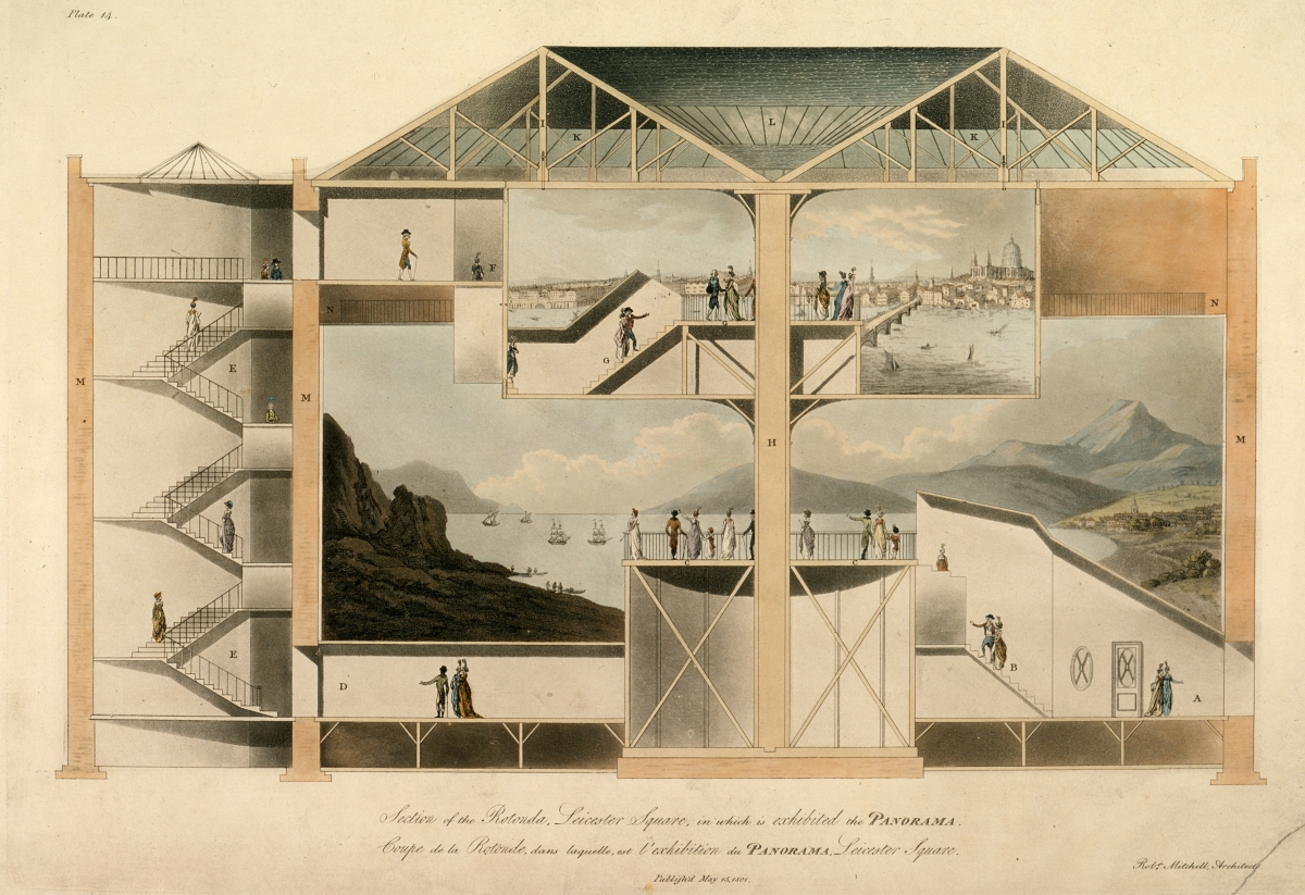 Robert Mitchell. Section of the Rotunda, Leicester Square, in which is exhibited the Panorama. 1801.
