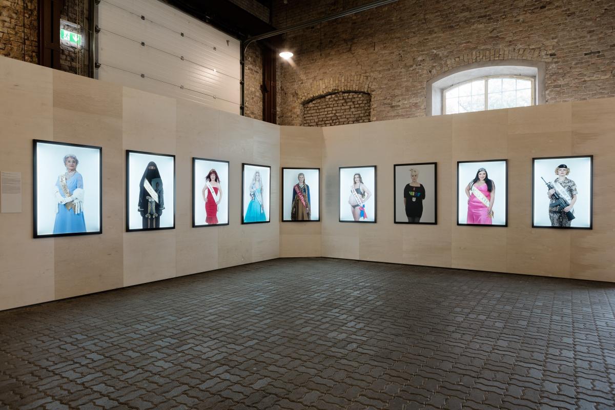 "Monika Pormale ""Miss Worlds"" 2009. Nine light boxes with colour photographs. 125x90 cm (each). Photography: Reinis Hofmanis"