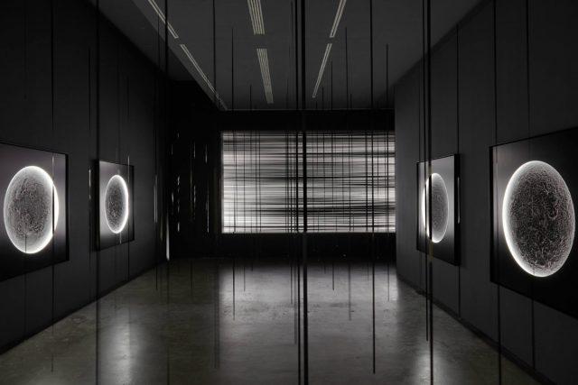 Illuminators (2015), White Noise (2007), Verticals (2015), Installation view IKON gallery, Birmingham, UK. Photo: Stuart Whipps