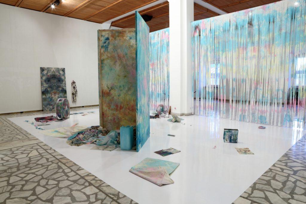Merike Estna, Blue Lagoon, installation, 2014. Courtesy of Art Museum of Estonia. 16th International Vilnius Painting Triennial 'Nomadic Images'. Photo: Gintaras Janavičius