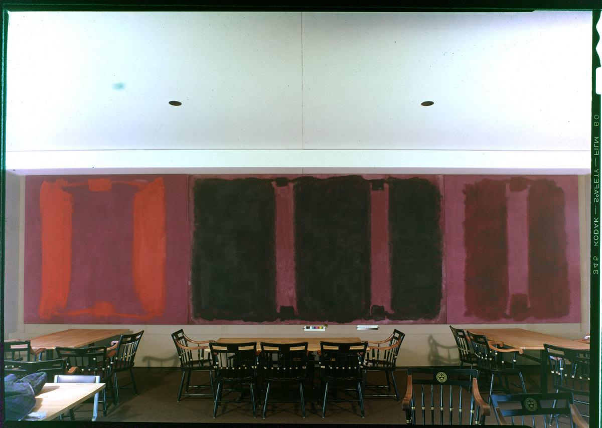 """Mark Rothko's Harvard murals, """"Panel One,"""" """"Panel Two,"""" and """"Panel Three,"""" Holyoke Center, 1964"""