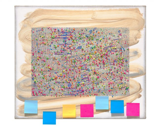 Laura Owens,  Untitled, 2016, Oil, screen printing ink, lava rocks and post-it notes on linen, 26 x 30 inches