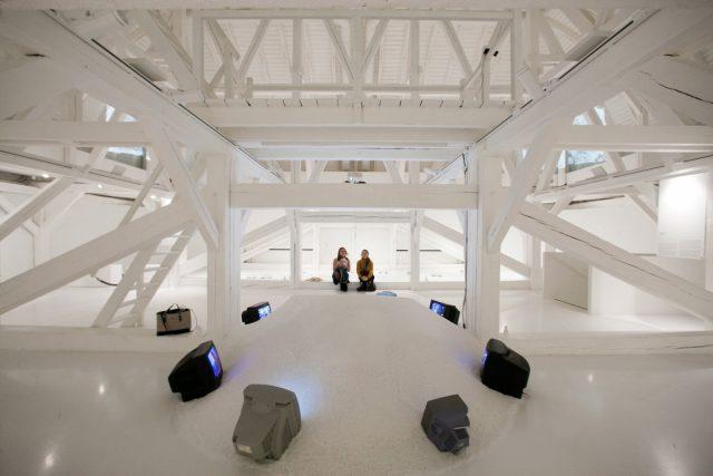 "Juris Boiko. Video installation Saltblower.  Reconstruction at the Latvian National Museum of Arts.  Exhibition ""Juris Boiko. Salt Crystals"". 2016.  Photo: Didzis Grozs."