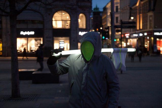 Saulius Leonavičius & Vida Strasevičiūtė, Fuck Language, Oslo city centre, 2017