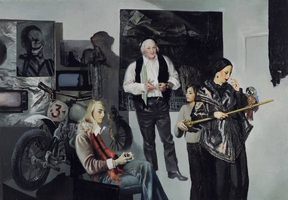 Maija Tabaka. Artist Wolf Vostell with Family. 1978. Oil on canvas. Collection of the Latvian National Museum of Art
