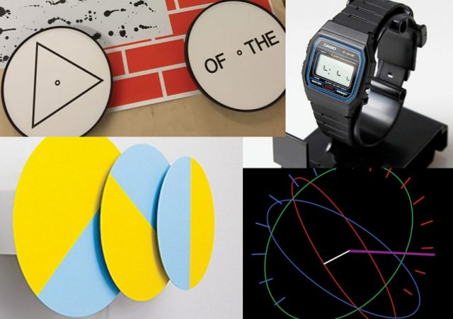 Clocks from the exhibition. Three Times (in Yellow and Blue) by Karel Martens; WordThings in TimeSpace, a project by Experimental Jetset; Serverdial by Dexter Sinister, and their collaboration project with Erik Wysocan, Watch Wyoscan 0.5Hz.