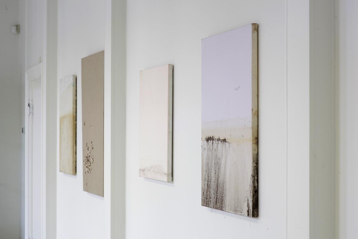 Andris Eglītis. Laboratory of Poetic Research. Gelatine, mould, potassium permanganate on canvas, 2017