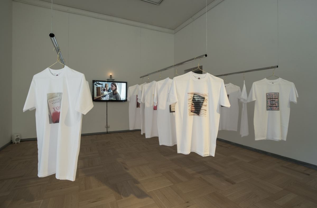 "Exhibition 'Image Drain"". Victoria Durnak. Only Love Can Break Your Heart. Movie, T-shirts, candle. 2017. Photo: Karel Koplimets, Tallinn Art Hall"