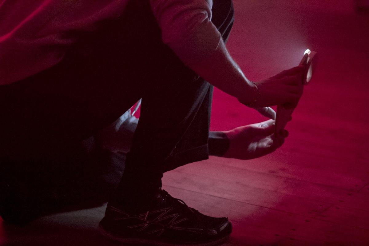 "YGRG 150: Le Musée Menteur by Dorota Gawęda & Eglė Kulbokaitė, Editorial project space, Vilnius, 2017. Performing: Antanas Lučiūnas, Kristina Aglaja Skaldina, Dorota Gawęda and Eglė Kulbokaitė. Reading: ""Gender, Sexuality, and the Biopolitics of Architecture: From the Secret Museum to Playboy"" by Paul B. Preciado. Photo: Editorial"