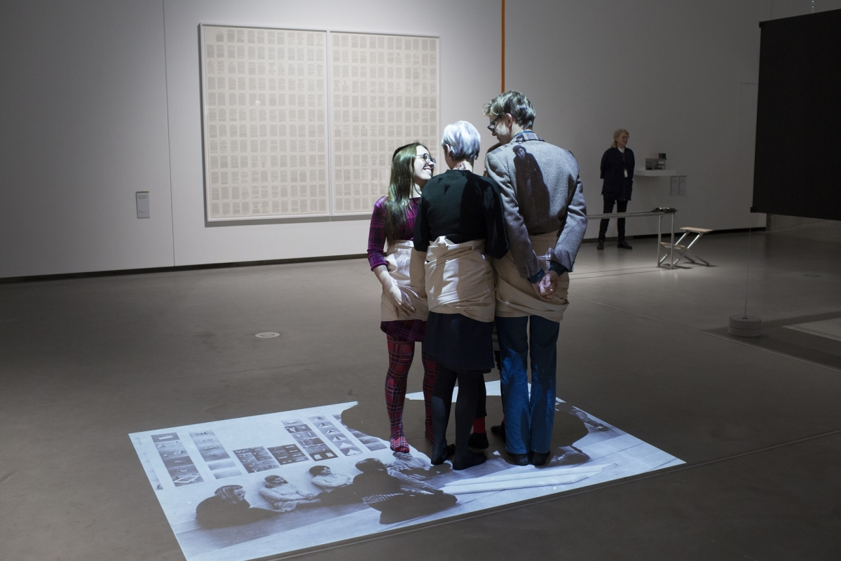 Exhibition view. At the foreground: Franz Erhard Walther. Viererverbindung (No. 42, 1e Werksatz) [Four Connections], 1968. Photo: Andrejs Strokins. Latvian Centre for Contemporary Art, 2017