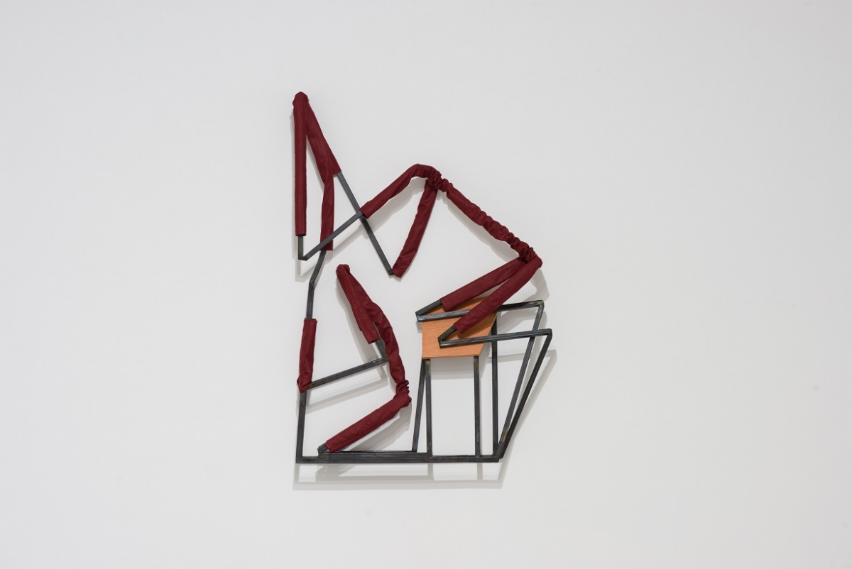 Indrikis Gelzis, Nights in White Satin, 2017. Metal square tubes, textile, furniture plate, 140 x 90 x 25 cm
