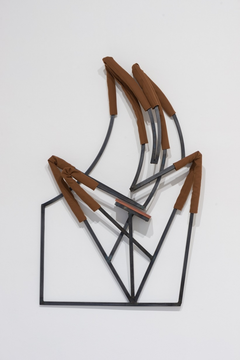 Indrikis Gelzis, More than this, 2017. Metal square tubes, textile, furniture plate, 145 x 95 x 16 cm