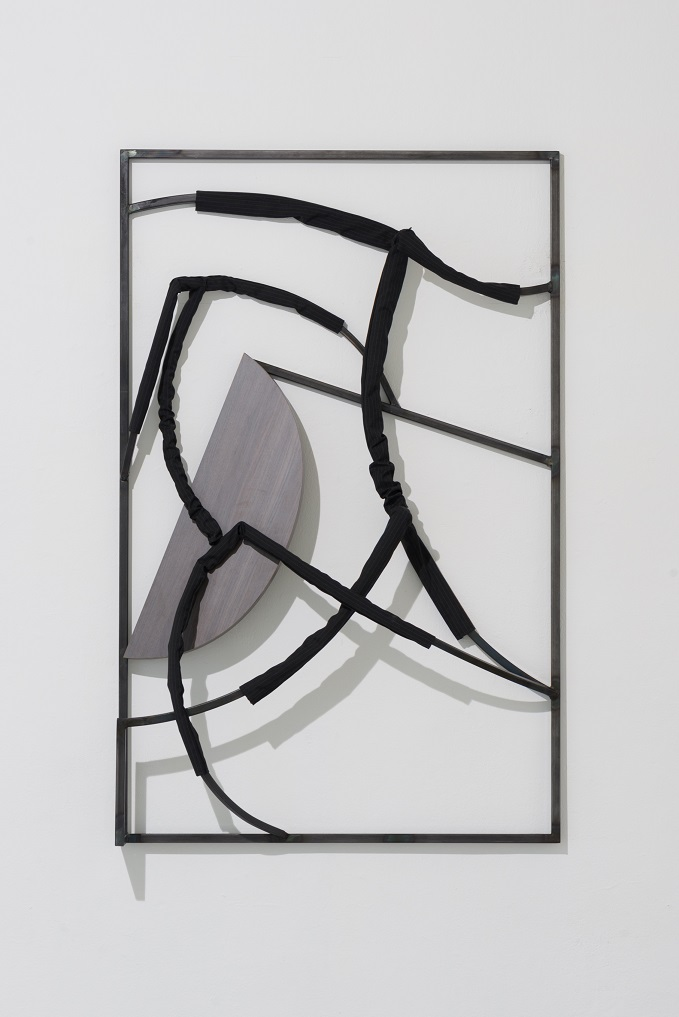 Indrikis Gelzis, Foreplay, 2017. Metal square tubes, textile, furniture plate, 150 x 100 x 25 cm