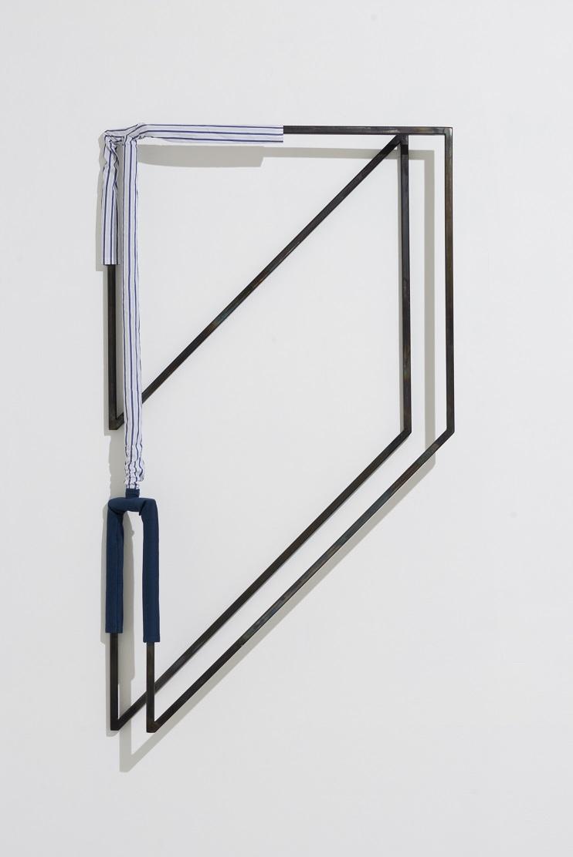 Indrikis Gelzis, Portrait of Parallelism, 2016. Metal square tubes, textile, buttons, 150 x 90 x 15 cm