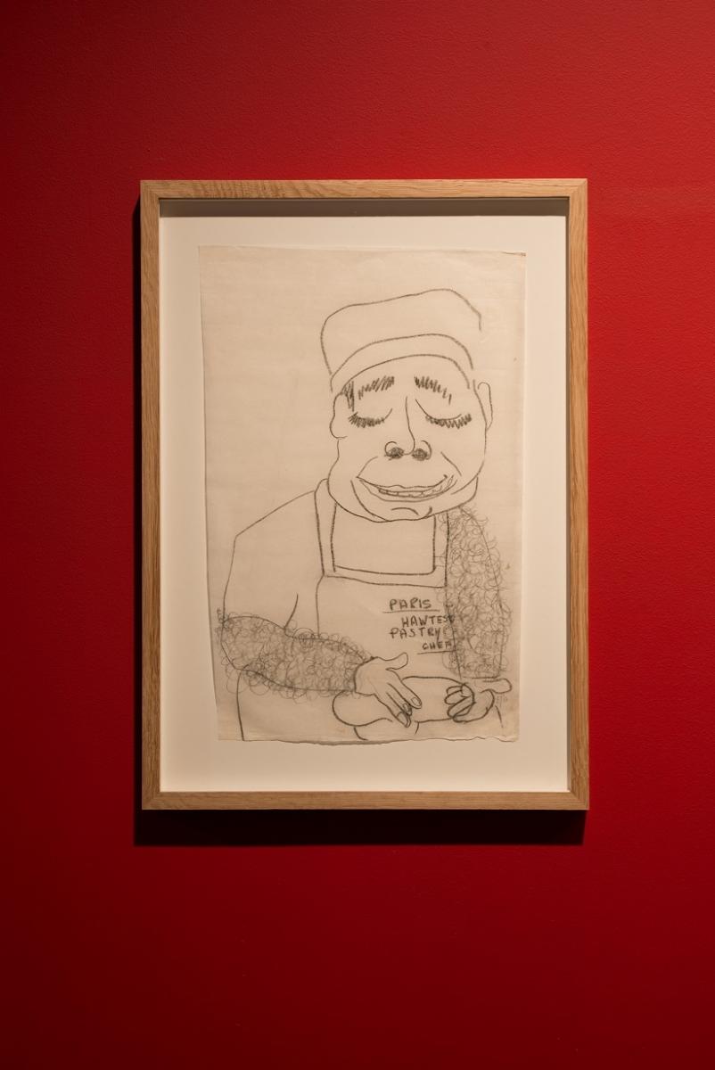 Egle Jauncems, Famous Chef No. 2, 2017, Charcoal pencil on paper, 53 x 38 cm