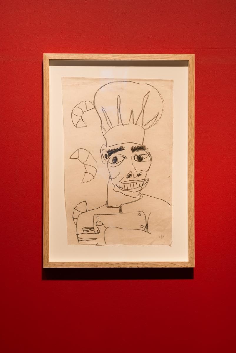 Egle Jauncems, Famous Chef No. 3, 2017. Charcoal pencil on paper, 53 x 38 cm