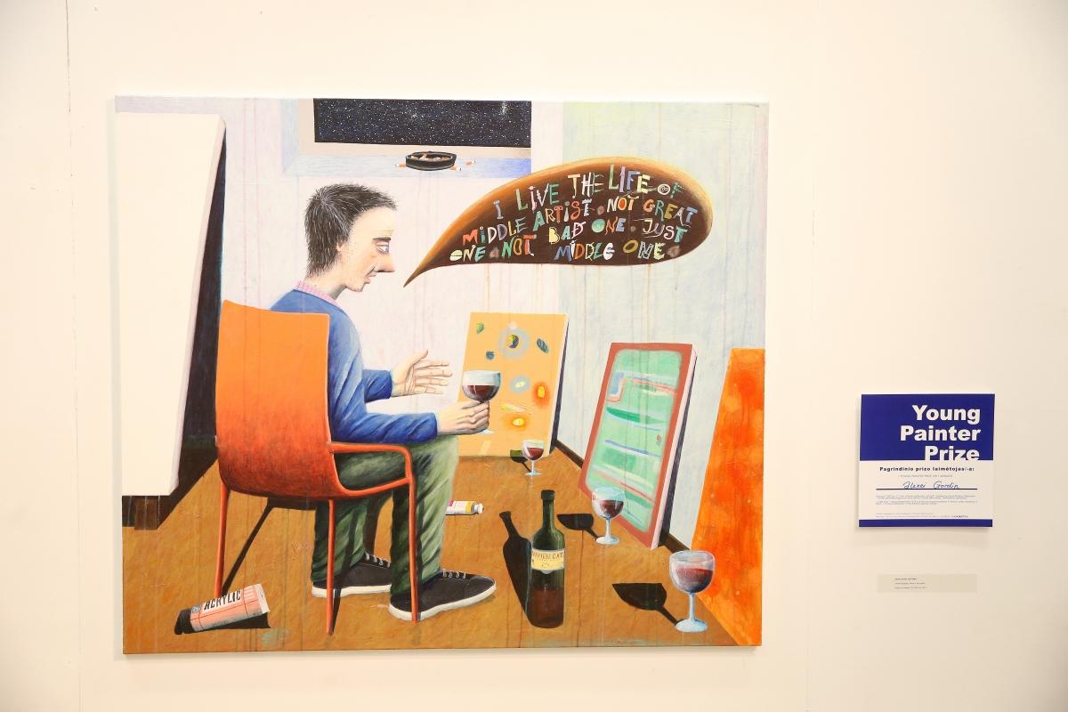 Alexei Gordin. Alone in the studio. Acrylic on canvas, 120 x180 cm, 2017