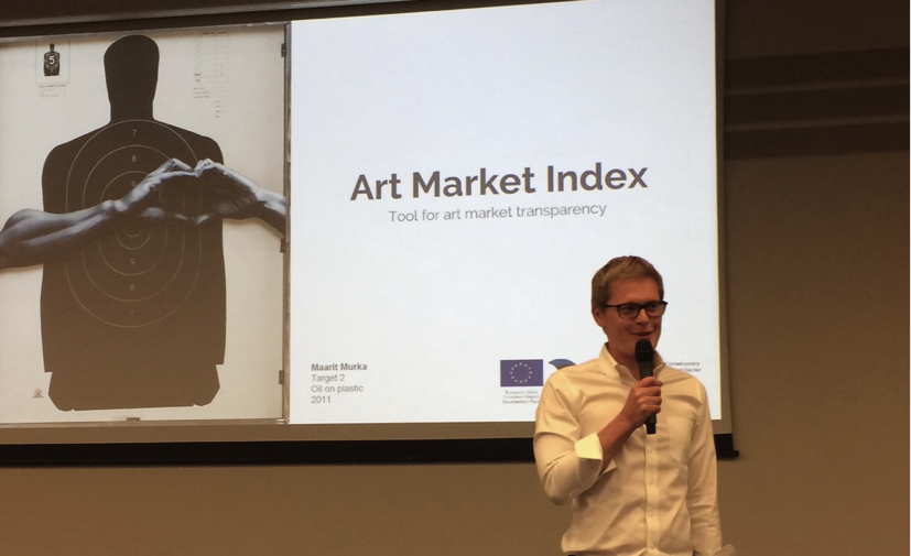 Riivo Anton introducing the Estonian Art Index project at ArtVilnius. Photo: Kadri Laas