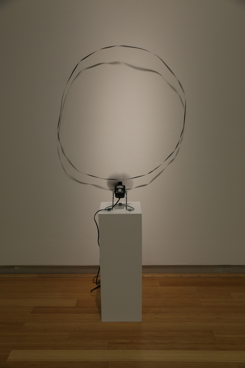 O, 2006, Dimensions variable, magnetic tape, small fan, pedestal