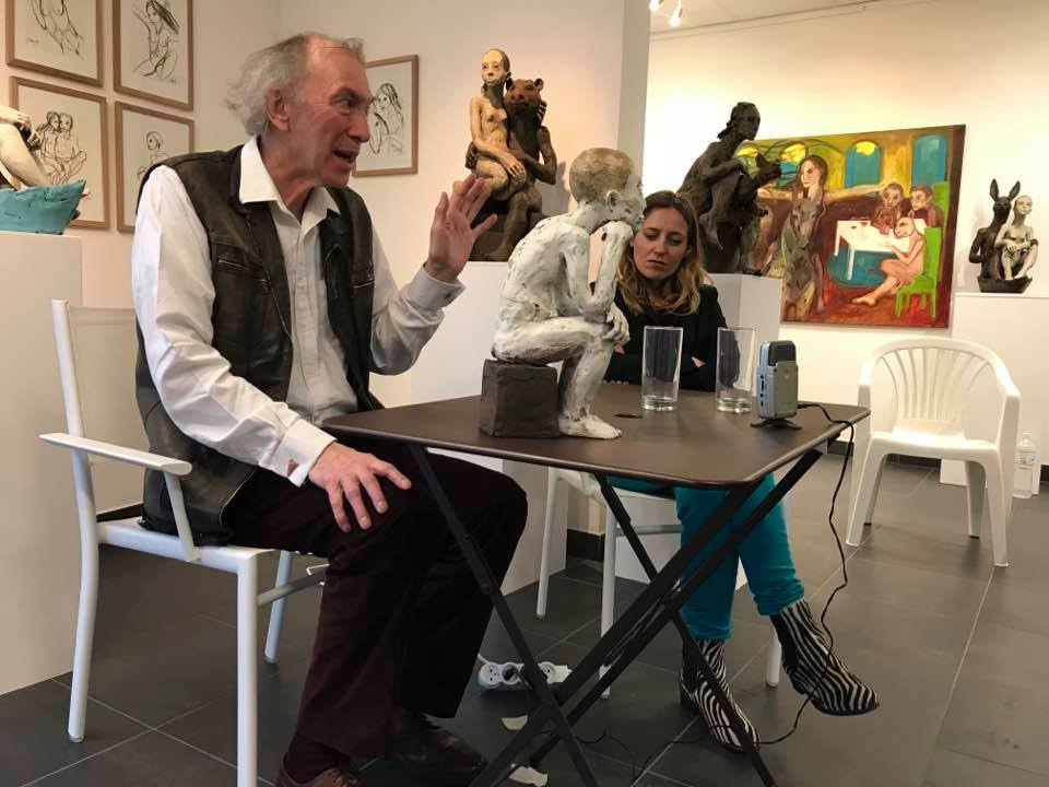 Galerie Espace 83, La Rochelle, conference with art critic Christian Noorbergen 2018. From personal Rūta Jusionyte archive
