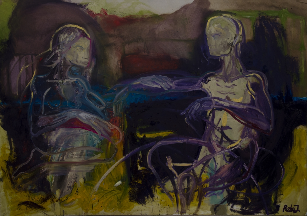 Rūta Jusionytė. Face à face huile sur toile. 162 x 114 cm.