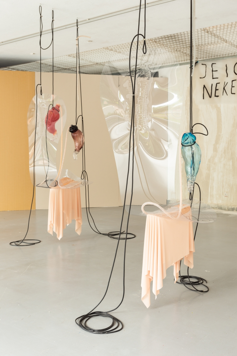 PAKUI HARDWARE The Return of Sweetness, 2018 Glass object, heat-treated PVC, textile fabric, latex, silicone, chia seeds, cables Dimensions variable Courtesy the artists; EXILE, Berlin and Tenderpixel, London