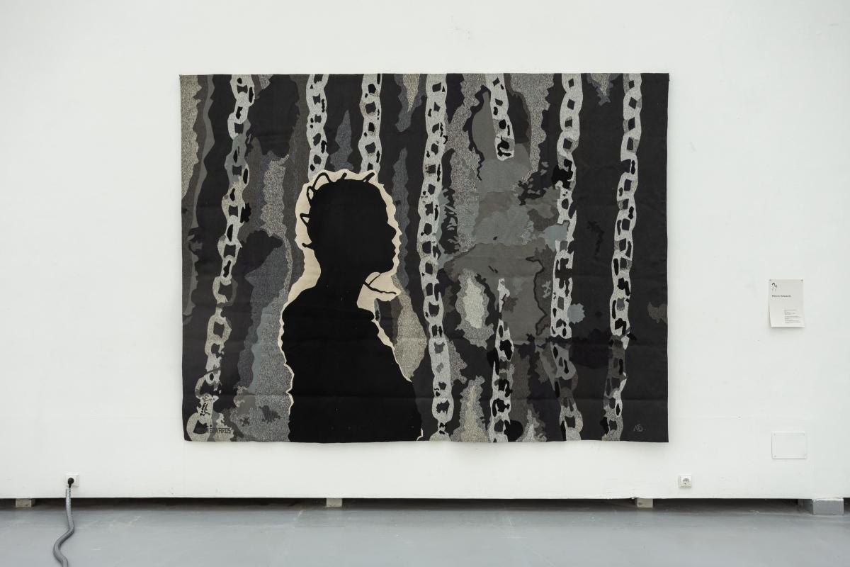 MELVIN EDWARDS Untitled Portrait of Jayne, 1974 Wool 228 x 300 cm Courtesy Stephen Friedman Gallery