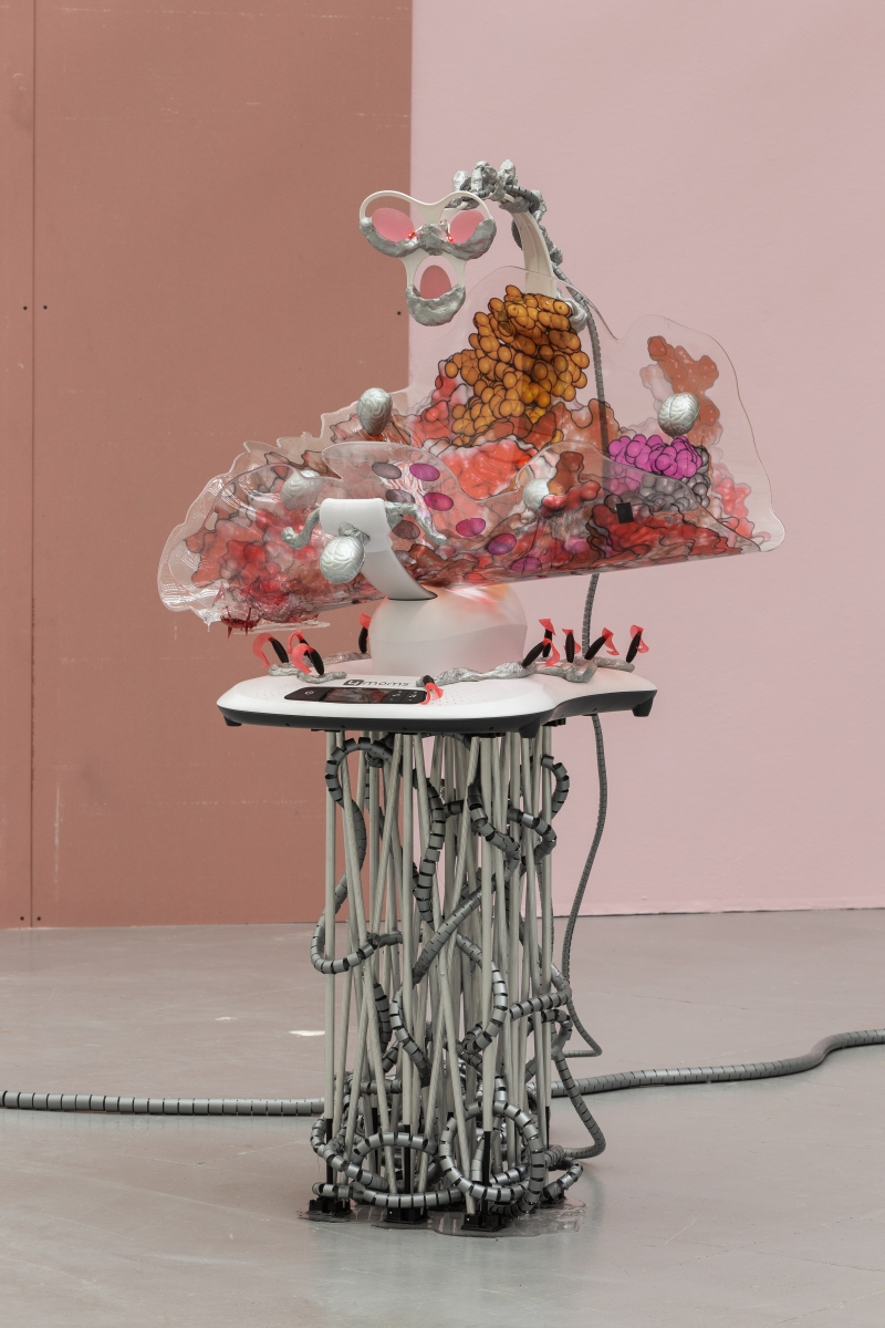 KATJA NOVITSKOVA Mamaroo Brain 1 and 2, 2018 Electronic baby swing, robotic bugs, plastic hoses, lasers, epoxy clay, Digital print, polyurethane resin, aluminium folding stand 146 x 95 x 94 cm and 142 x 97 x 75 cm All works courtesy the artist and Kraupa Tuskany Zeidler, Berlin