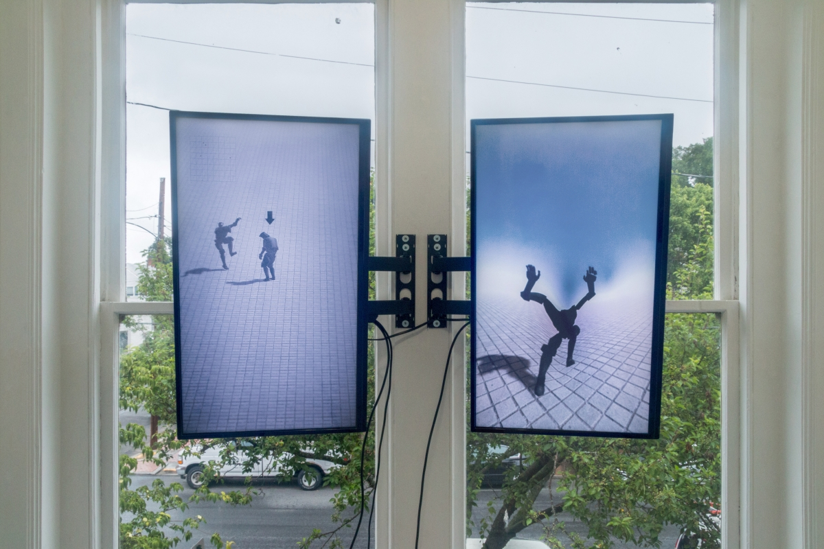 Viktor Timofeev Four Characters in search of a Random Exit, 2017 Two-channel generative video Custom software, sound