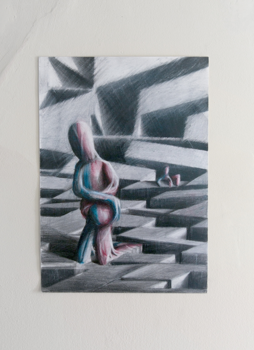 Viktor Timofeev AB + AB, 2018, Coloured pencil on paper 13-3/4 x 9-3/4 inches