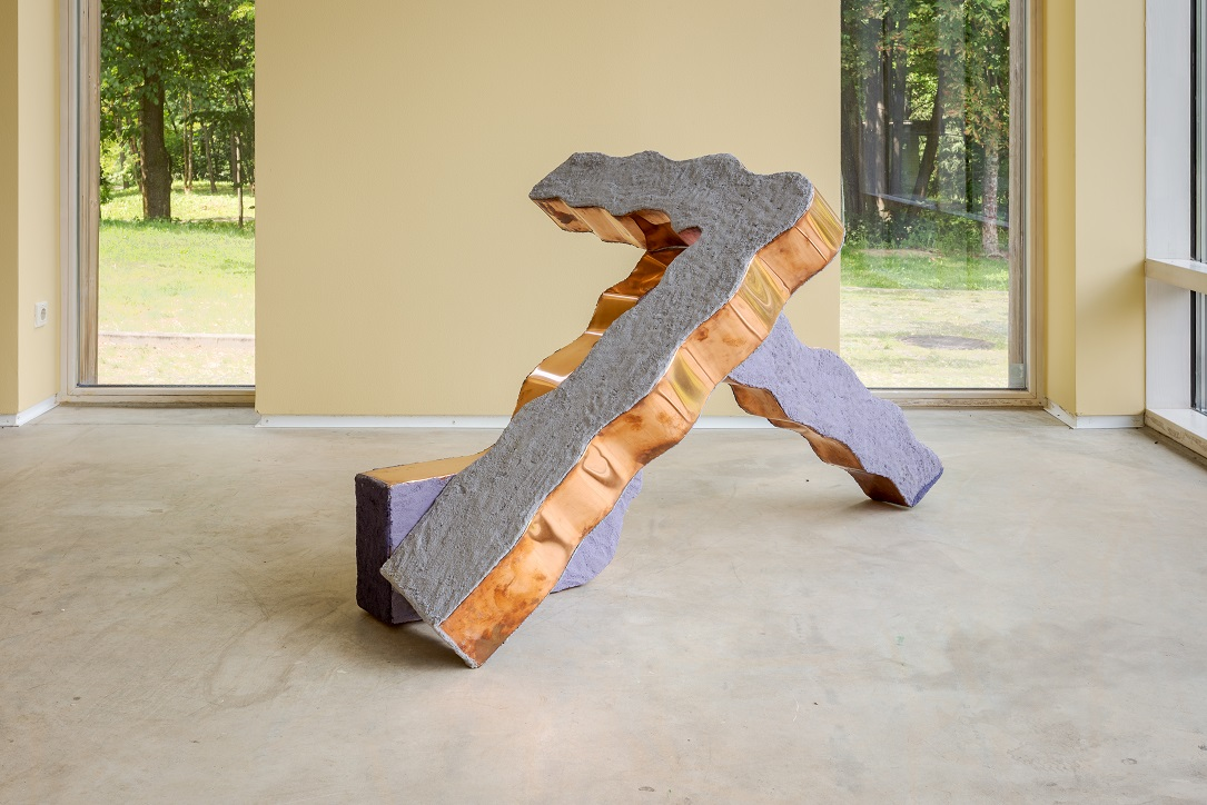 Tamara Henderson, Treaty of Slippage, Wake of Limbs, 2014. Copper, paint, sand, glue, wood, 90 x 157.5 x 94.5 cm