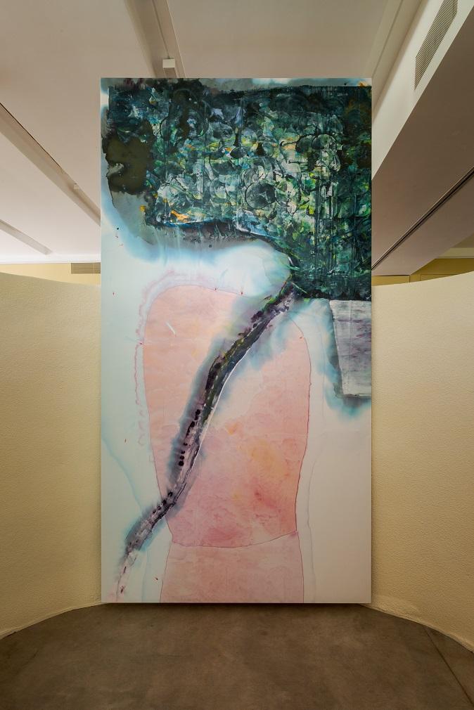 Ragna Bley, Receive in Past Tense, 2017. Acrylic on Dacron, 330 x 170 cm