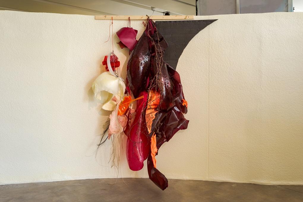 Daiga Grantina, Coat-ee off Cat Curl, 2018. Fabric, plastic, wood, foam, cardboard, paint, 250 x 150 x 50 cm