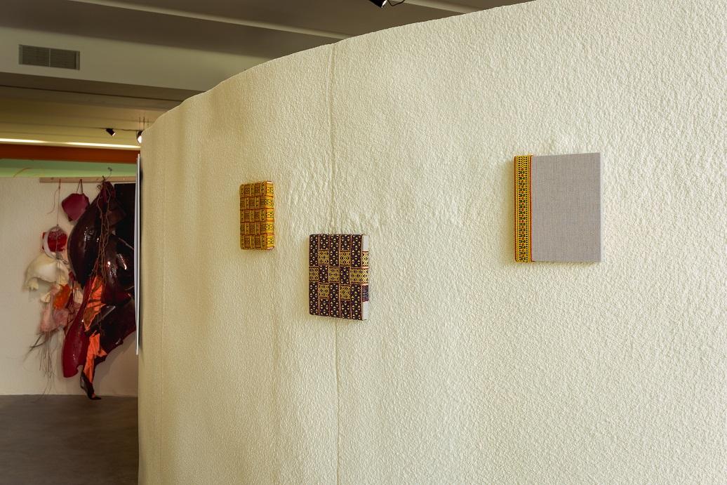 Indrė Šerpytytė, Infinite, 2018. Cotton linen on canvas, 24 x 24 cm. Rudiment, 2018. Cotton linen on canvas, 22 x 25 cm. Clod, 2018. Cotton linen on canvas, 22 x 22 cm