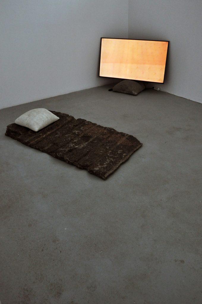 "Žygimantas Kudirka  ""State of Grace"" (2018) and Jonas Vaitiekūnas ""Gender-possessing Bed"" (2018), a bed for the presentation of Žygimantas Kudirka's app. Permission lie down."