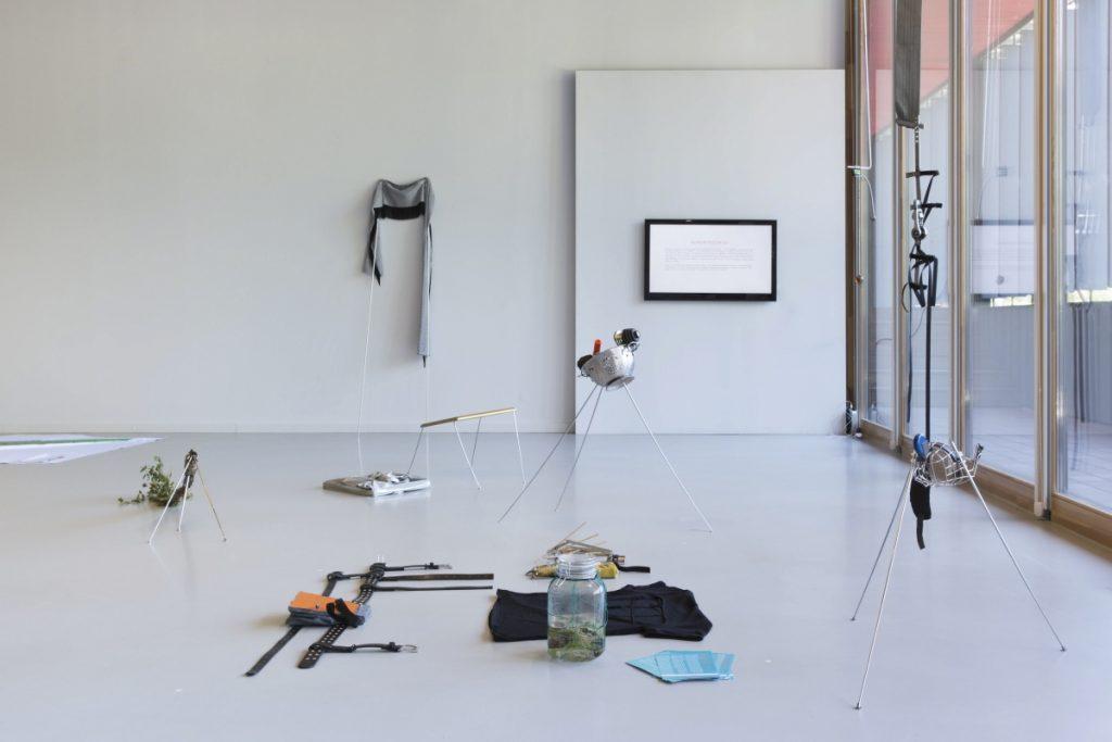 Špela Petrič, Tools for Dissection of Phytopolitics (0.2), 2018. Installation of objects used during the performance. Household items, steel, plexiglass, wood, cloth, video by Špela Petrič, Saulius Petrošius, and Laurynas Skeisgiela