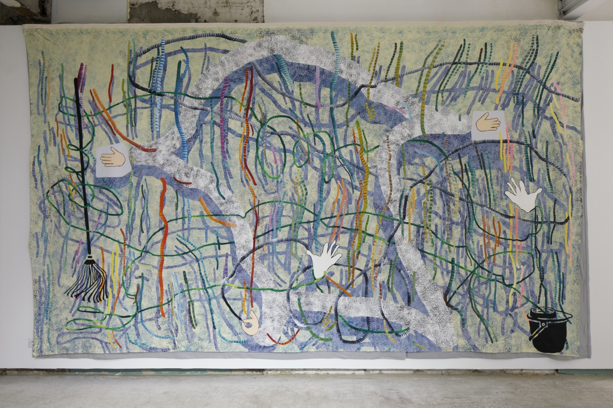 Damage was reparable acrylic on canvas, 300x490cm. 2017