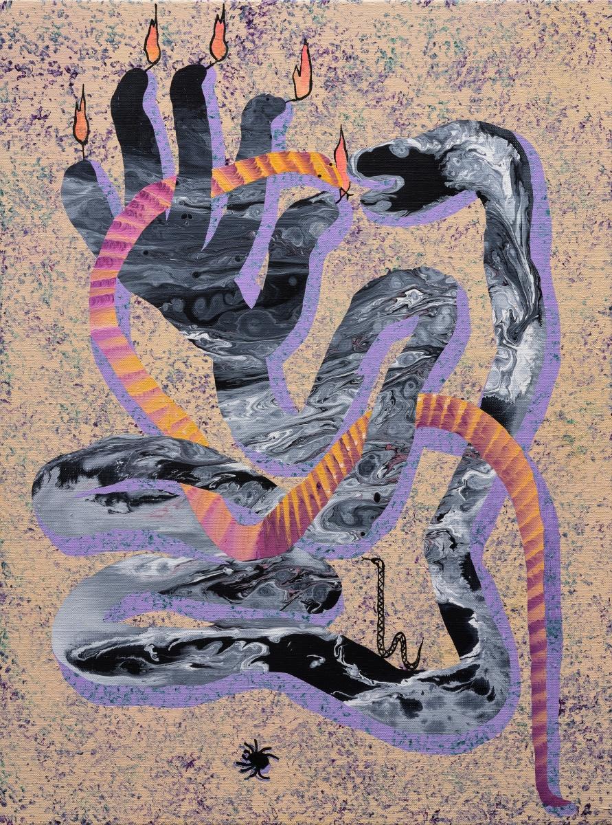 A serpent, a hand and a nightcrawler acrylic on canvas, 61cm x 45cm. 2018 Photo: Stanislav Stepasko