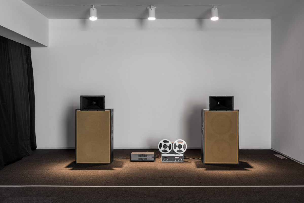 Deimantas Narkevičius, Matching the Tu-144, 2012 (date:check with artist) Audio tape, reel-to-reel player, stereo amplifier, speakers Duration: 10 minutes