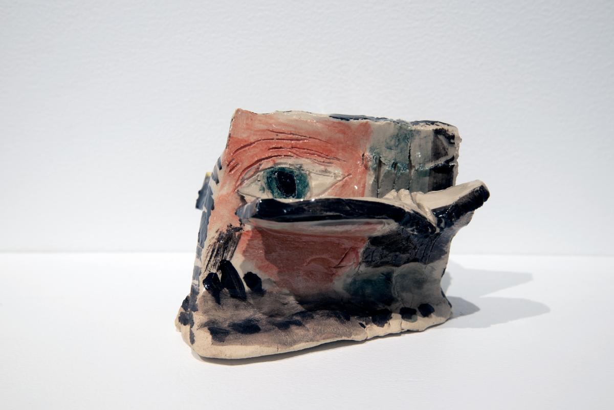 """Jaakko Pallasvuo """"Major Arcana Bulletin Boards"""". Installation: paper, gouache, ink, ceramics, pins, corkboard, wood, 2018. Photo: Madis Kats"""