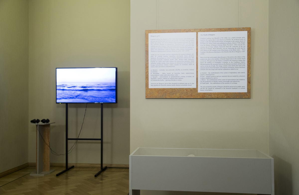 Tanel Rander. The Mouth of Daugava. Video documentation, installation, 2018. Photo: Margarita Ogoļceva, Latvian Centre for Contemporary Art, 2018