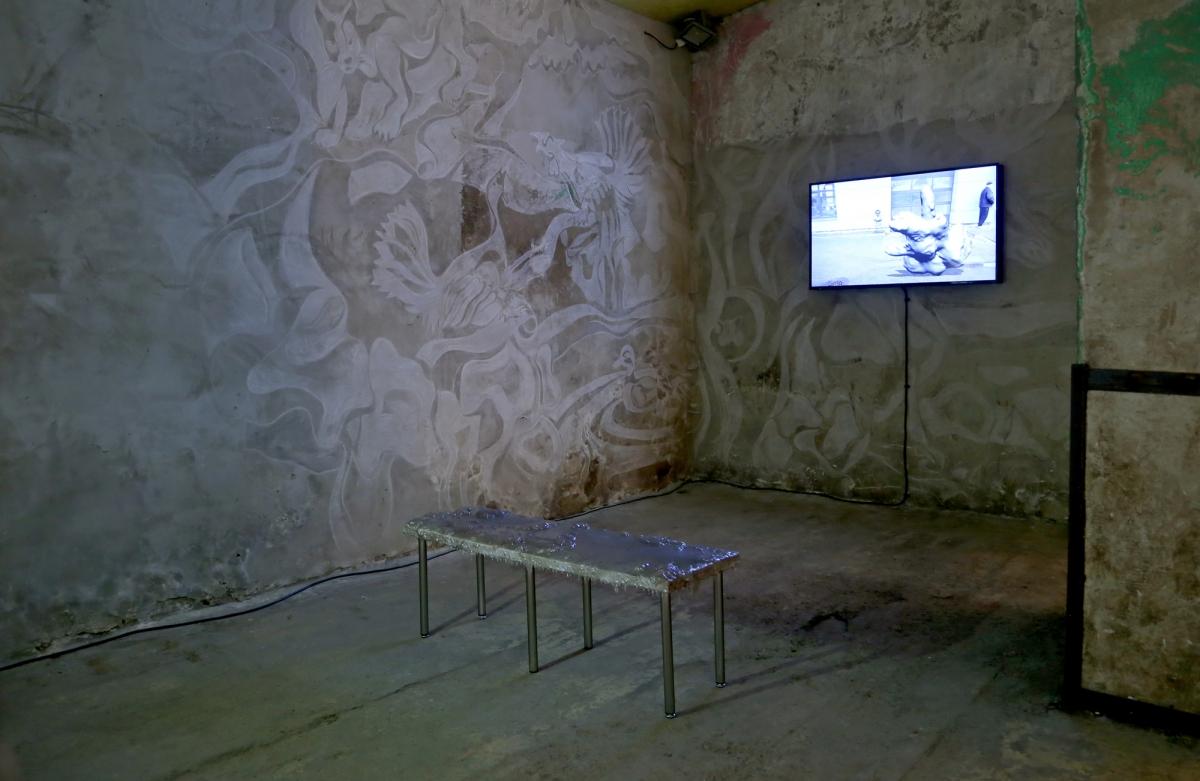 "Anastasia Sosunova, Demikhov Dog, 2017. Photo: Margarita Ogoļceva, Latvian Centre for Contemporary Art, 2018 video installation; length 7' 18"""