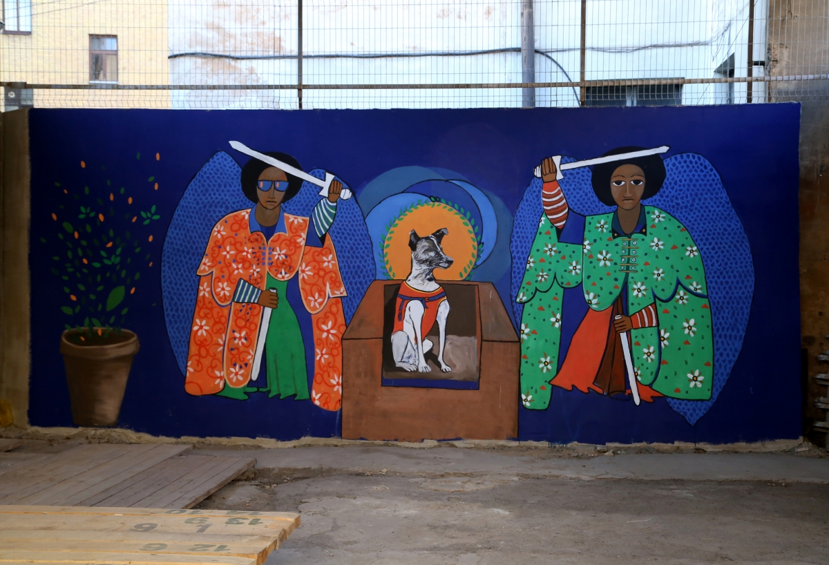 Cassius Fadlabi, Tirailleurs Senegalais, 2018. Photo: Margarita Ogoļceva, Latvian Centre for Contemporary Art, 2018 acrylic paint, mural; 300×670 cm